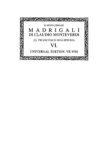 IL SESTO LIBRO DE MADRIGALI A 5 VOCI PARTITUR