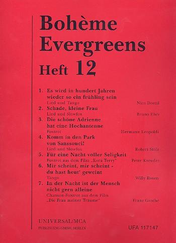 Boheme Evergreens Band 12: Album für Gesang und Klavier