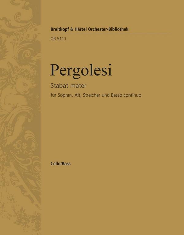 Pergolesi, Giovanni Battista - Stabat mater : für Sopran, Alt,