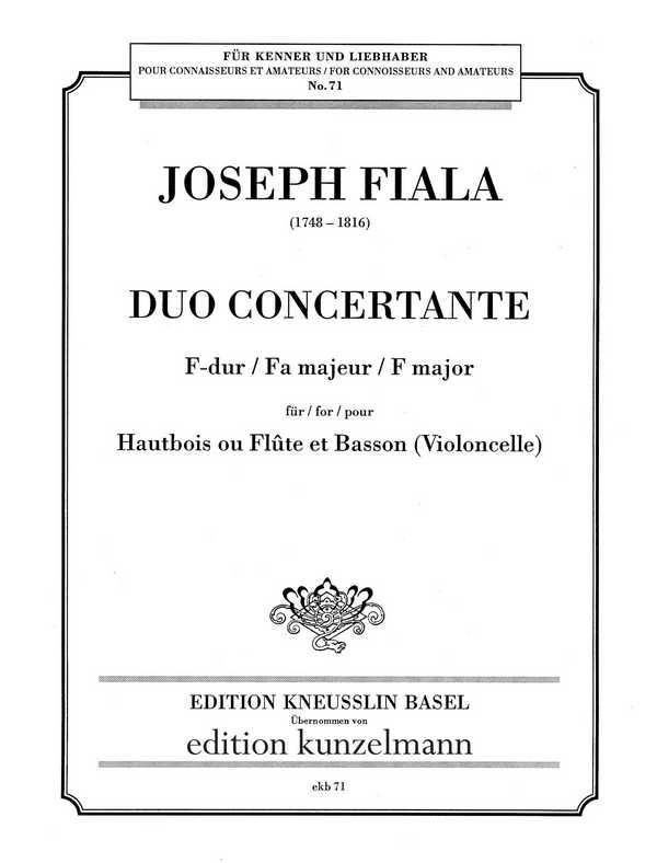 Duo concertante F-Dur: für Oboe (Flöte) und Fagott (Violoncello)