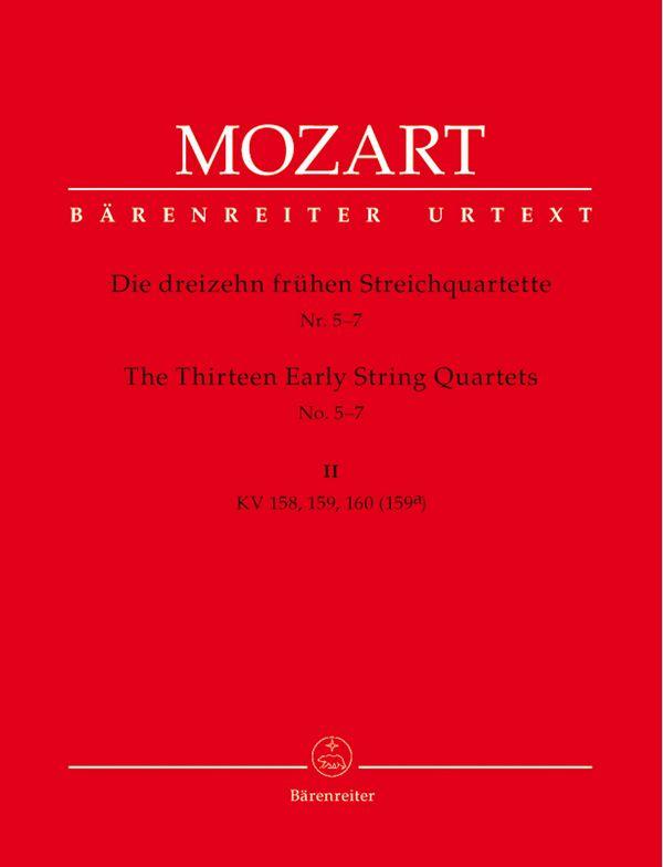 13 frühe Streichquartette Band 2 KV158-160, Stimmen