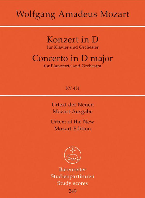KONZERT IN D-DUR KV451: FUER KLAVIER