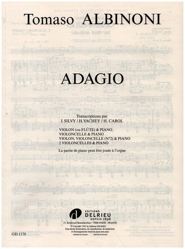 Adagio: pour violoncelle et piano