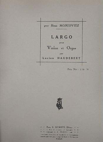 Largo: pour violon et orgue