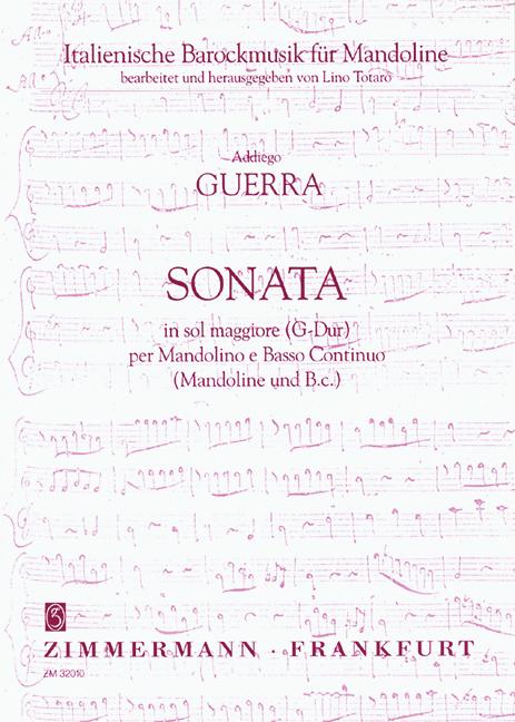 Sonata sol maggiore: per mandolino e bc