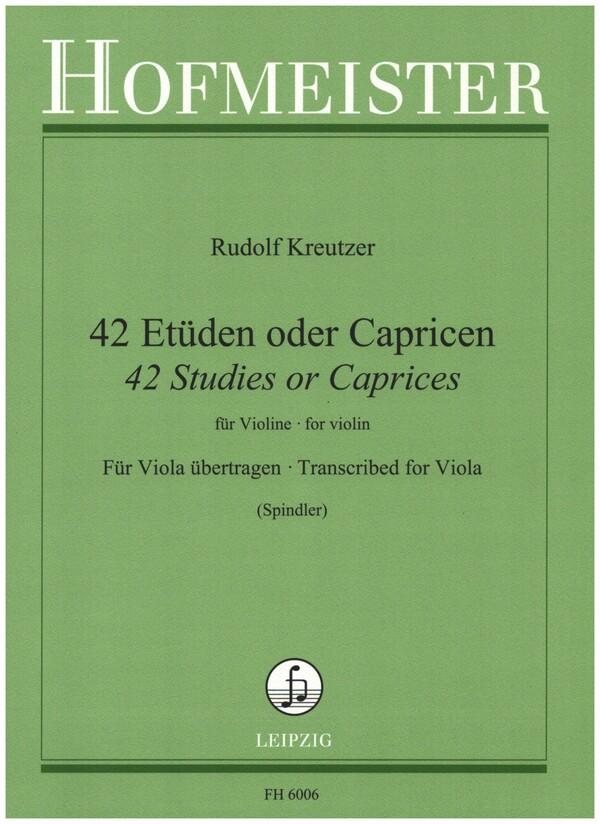 42 Etüden oder Capricen für Violine: für Viola übertragen