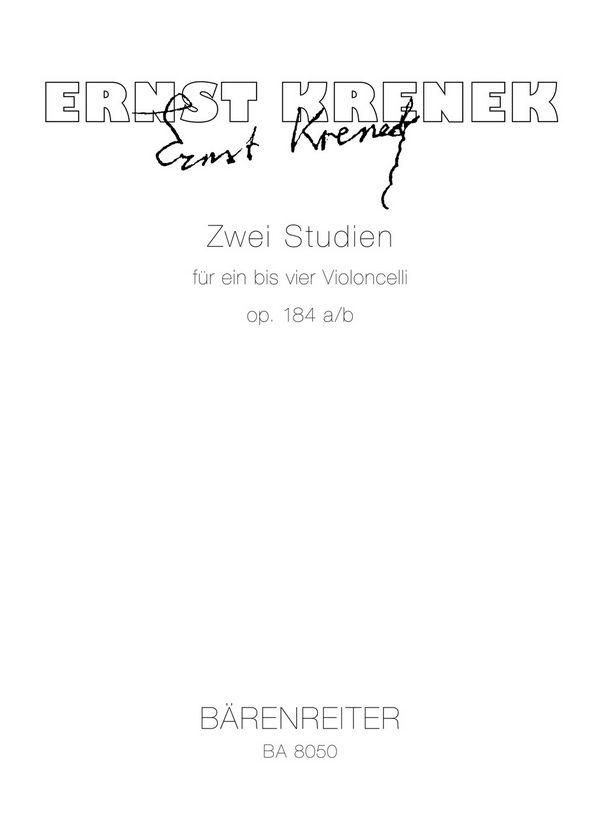 2 Studien opus.184a/b: für 1-4 Violoncelli