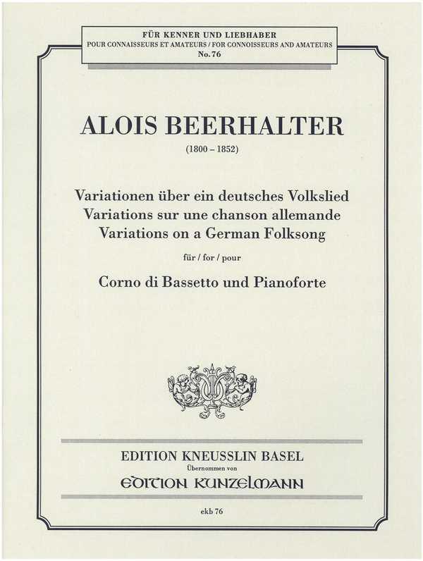 Variationen über ein deutsches Volkslied: für Bassetthorn und Klavier
