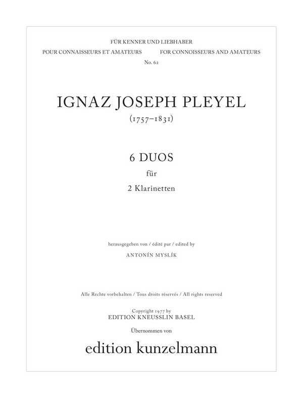 6 Original-Duos: für 2 Klarinetten Stimmen