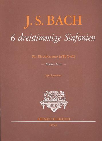 6 dreistimmige Sinfonien: für 3 Blockflöten (ATB/SAT)