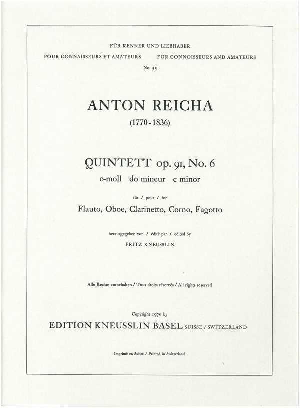 Quintett c-Moll opus.91,6: für Flöte, Oboe, Klarinette, Horn und