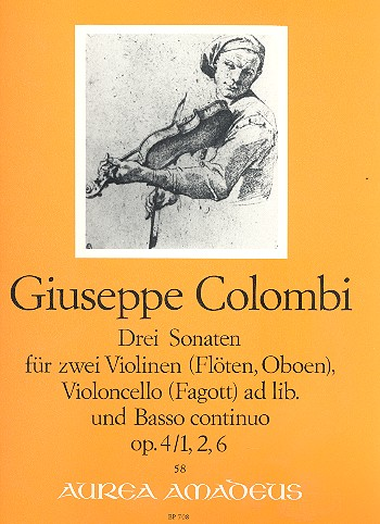 3 Sonaten aus opus.4 : für 2 Violinen Violoncello und Bc
