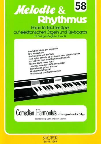 Comedian Harmonists : Ihre grossen Erfolge für E-Orgel / Keyboard