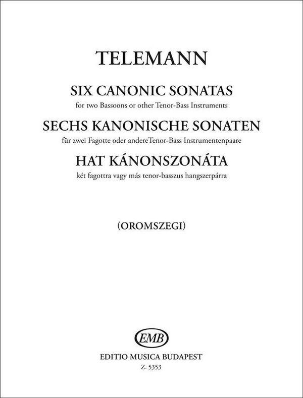 Telemann, Georg Philipp - 6 Sonaten im Kanon : für 2 Fagotte