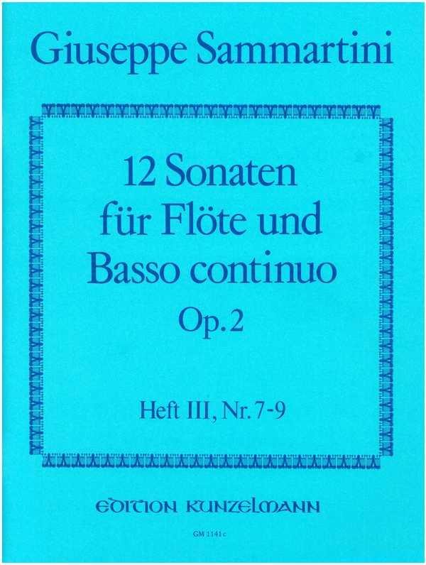 12 Sonaten opus.2 Band 3 (Nr.7-9): für Flöte und Bc
