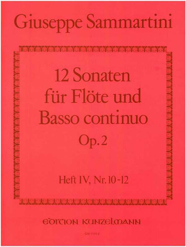 12 Sonaten opus.2 Band 4 (Nr.10-12): für Flöte und Bc