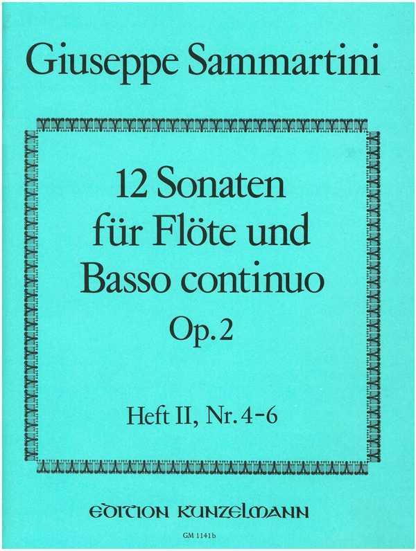12 Sonaten opus.2 Band 2 (Nr.4-6): für Flöte und Bc