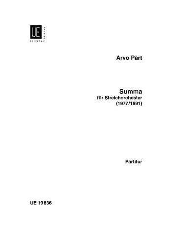 Pärt, Arvo - Summa : für Streichorchester