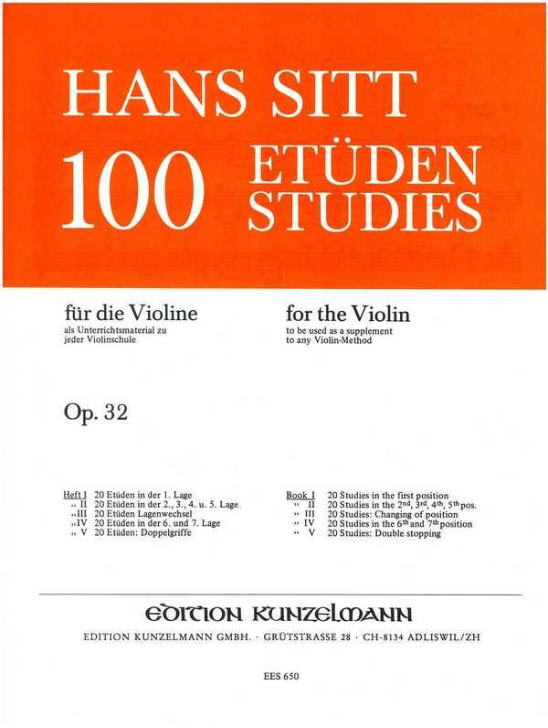 100 Etüden opus.32 Band 1: 20 Etüden opus.32 in der 1. Lage