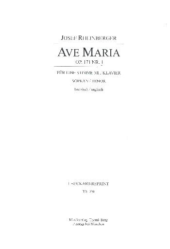 Rheinberger, Joseph Gabriel - Ave Maria  op.171,1 : für hohe