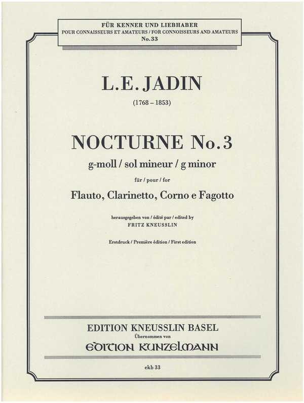 Nocturne g-Moll Nr.3: für Flöte, Klarinette, Horn und Fagott