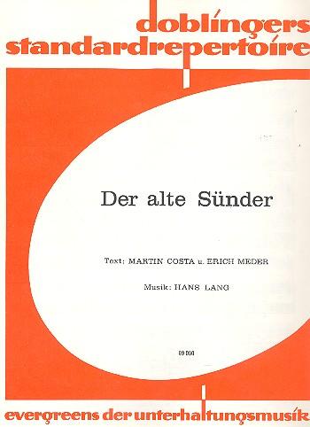Der alte Sünder: Einzelausgabe für Gesang