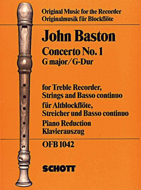Baston, John - Konzert G-Dur Nr.1 für Altblockflöte,