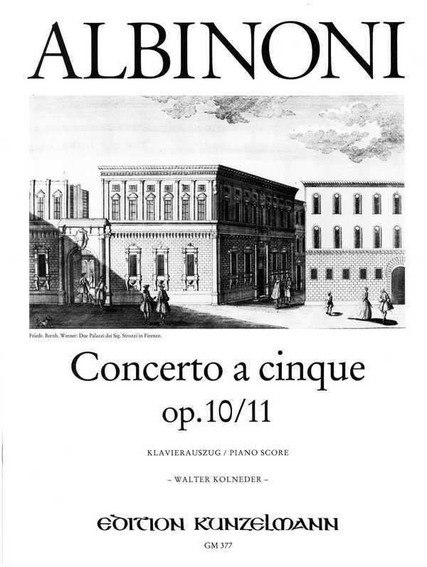 Concerto à cinque c-Moll opus.10,11 für Violine und Streichorchester: für Violine und Klavier