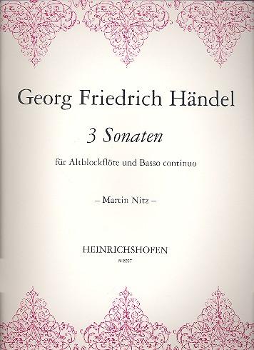 Händel, Georg Friedrich - 3 Sonaten : für Altblockflöte und Bc