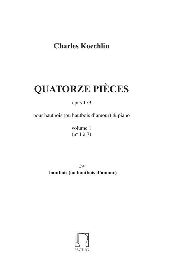 14 pièces vol.1 (nos.1-7): pour hautbois, hautbois d\