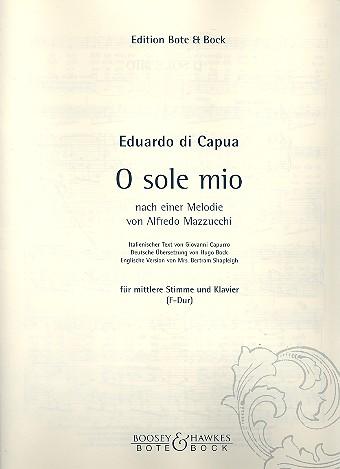 Capua, Eduardo di - O sole mio : für mittlere Stimme und Klavier (dt/it/en)