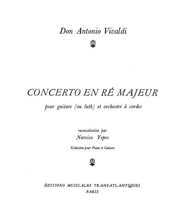 Concerto en re majeur: pour guitare (luth) et piano