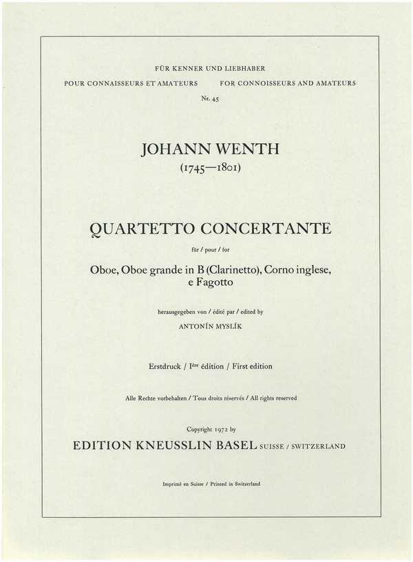 Quartetto concertante: für Oboe, Klarinette, Englischhorn und Fagott