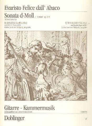 Sonate d-Moll opus.4,11: für Altblockflöte (Flöte(Oboe) und Gitarre (Bass ad lib)