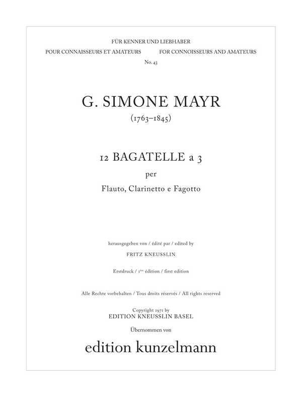 12 Bagatellen à 3: für Flöte, Klarinette und Fagott