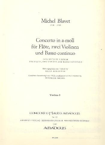 Concerto a-Moll: für Flöte, Violinen und Bc