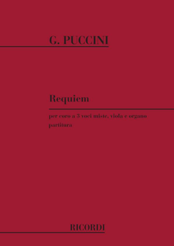 Puccini, Giacomo - Requiem : für 3-stimmigen gem Chor (STB), Viola und Orgel