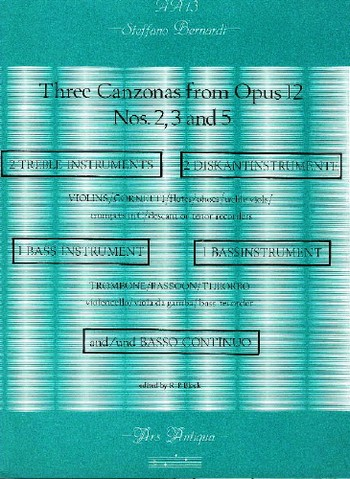 3 Canzonas from opus.12 (nos.2,3,5): for 2 treble, 1 bass instrument and bc