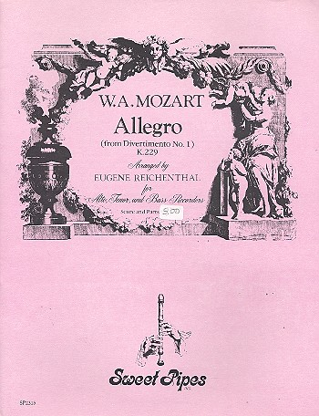 Allegro KV229 from divertimento no.1: for 3 recorders (ATB)