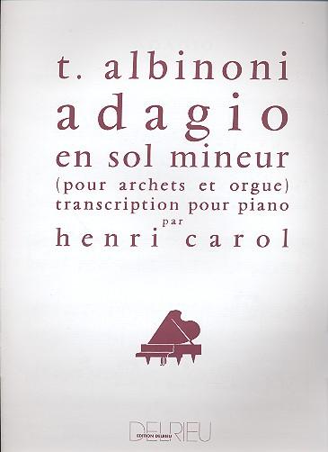 Adagio sol mineur: Transcription pour piano