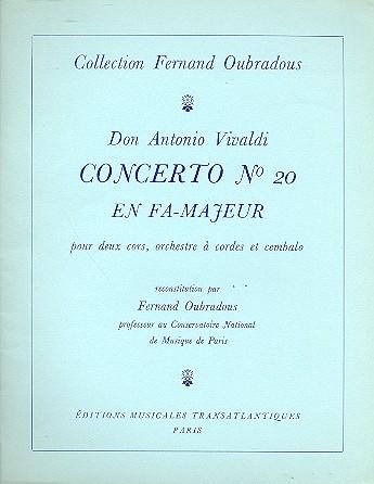 concerto fa majeur no.20 pour 2 cors, orchestre a cordes et cembalo: