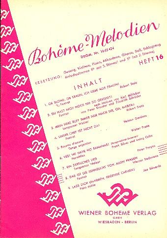 Bohème-Melodien Band 16: für Gesang und Klavier (mit Instrumenten)
