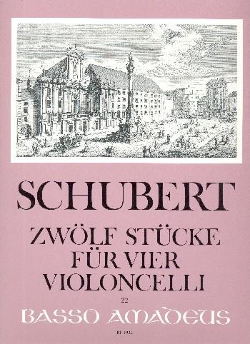 12 Stücke: für 4 Violoncelli Partitur und Stimmen
