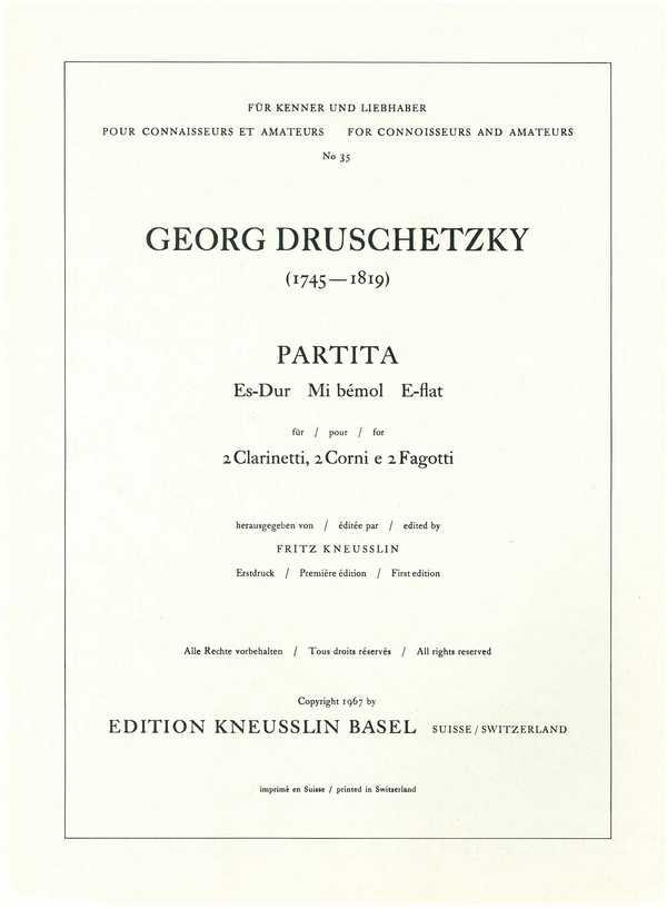 Partita Es-Dur: für 2 Klarinetten, 2 Hörner
