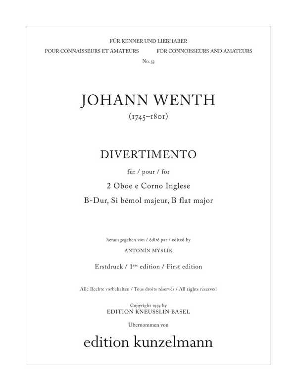 Divertimento B-Dur: für 2 Oboen und Englischhorn