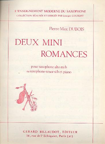 2 mini romances: pour saxophone alto ou tenor et piano