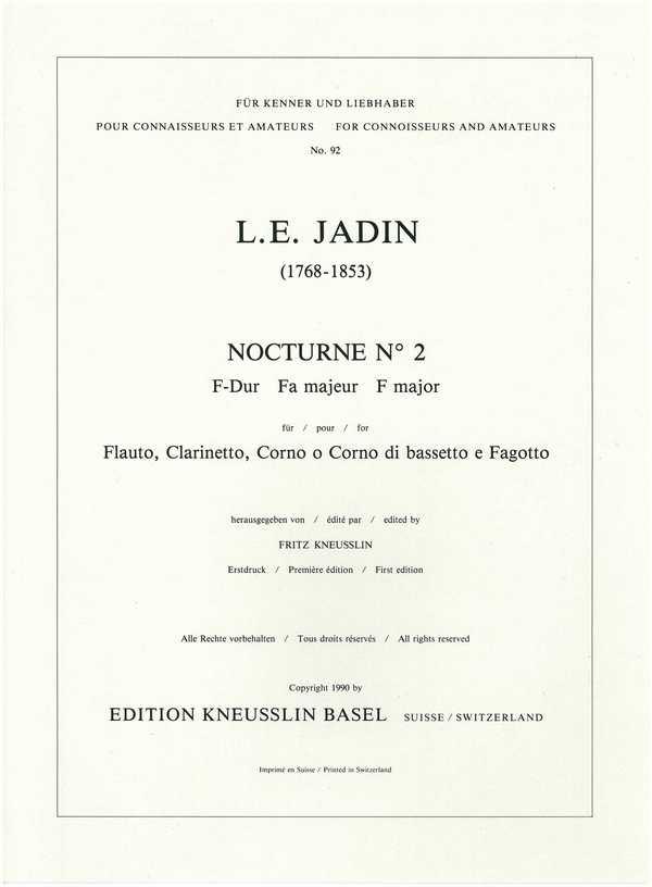 Nocturne F-Dur Nr.2: für Flöte, Klarinette, Horn (Bassetthorn) und