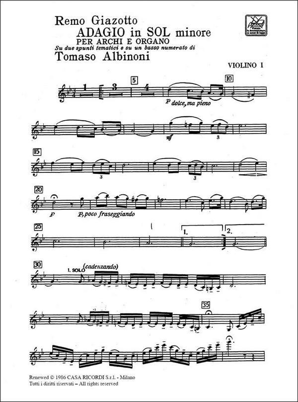 Giazotto, Remo - Adagio sol minore : per archi e organo