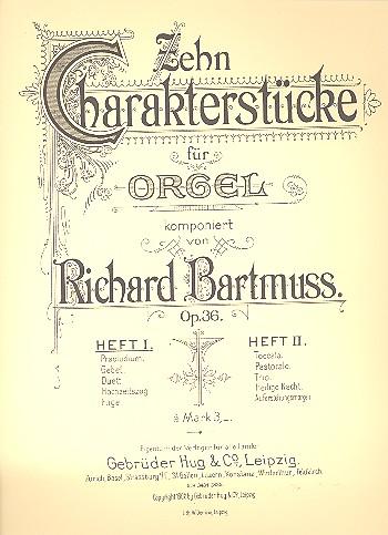 10 Charakterstücke opus.36 Band 1 (Nr.1-5): für Orgel