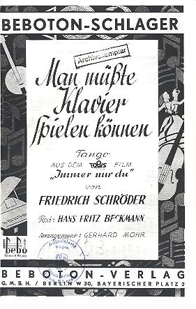 Schröder, Friedrich - Man müßte Klavier spielen können :
